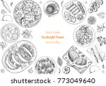 family dinner top view  vector... | Shutterstock .eps vector #773049640
