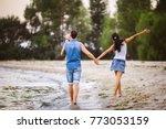 family holiday near the sea.... | Shutterstock . vector #773053159