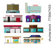different shops  buildings and...   Shutterstock .eps vector #773067433