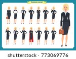 set of young businesswoman... | Shutterstock .eps vector #773069776