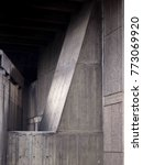 Small photo of old angled concrete stained walls abstract with cast textures