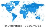 detailed world map with borders ... | Shutterstock . vector #773074786