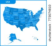 the detailed map of the usa... | Shutterstock . vector #773074810