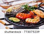 winter barbecue with gourmet... | Shutterstock . vector #773075239