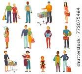 people shopping vector shopper... | Shutterstock .eps vector #773075464