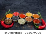 spices. colorful spices. curry  ... | Shutterstock . vector #773079703