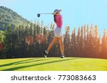 woman golf player at the end... | Shutterstock . vector #773083663