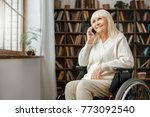 senior woman with disability... | Shutterstock . vector #773092540