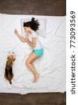 young woman resting on the bed... | Shutterstock . vector #773093569