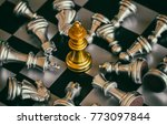 the king in battle chess game... | Shutterstock . vector #773097844