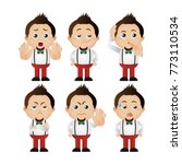 cute set   set of man character  | Shutterstock .eps vector #773110534