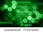 binary circuit board future... | Shutterstock .eps vector #773111023