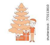 happy kid wearing christmas hat ... | Shutterstock .eps vector #773113810