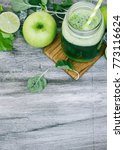 green smoothie in the jar on...   Shutterstock . vector #773116624