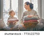 winter portrait of happy loving ... | Shutterstock . vector #773122753