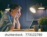 casual beautiful woman working... | Shutterstock . vector #773122780
