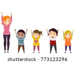 illustration of stickman kids...   Shutterstock .eps vector #773123296