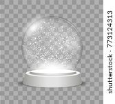 christmas globe with falling... | Shutterstock .eps vector #773124313