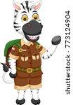 funny zebra cartoon standing... | Shutterstock .eps vector #773124904