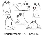 funny cartoon cat stretching set | Shutterstock .eps vector #773126443