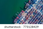 container cargo ship loading at ... | Shutterstock . vector #773128429