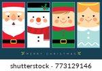 cute santa claus  snowman ... | Shutterstock .eps vector #773129146