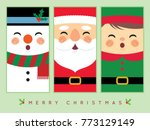 cute snowman  santa claus  and... | Shutterstock .eps vector #773129149