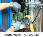 the technician are monitoring... | Shutterstock . vector #773129230