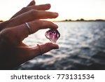 precious amethyst crystal  held ... | Shutterstock . vector #773131534