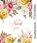 watercolor floral frame  ...   Shutterstock . vector #773134060