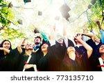 graduating students throwing... | Shutterstock . vector #773135710