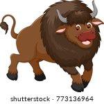 funny bison cartoon standing... | Shutterstock .eps vector #773136964