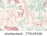 african animals and trees... | Shutterstock .eps vector #773139100
