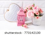 bunch of tender pink roses...   Shutterstock . vector #773142130