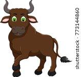 cute bull cartoon standing with ...