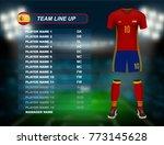 spain soccer jersey kit with... | Shutterstock .eps vector #773145628