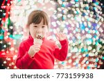 little girl with led lights... | Shutterstock . vector #773159938