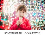 little girl with led lights... | Shutterstock . vector #773159944