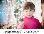 little girl with led lights... | Shutterstock . vector #773159974