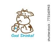 A Cute Cartoon Cow With A Drinks