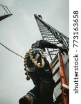 telecom worker climbing antenna ... | Shutterstock . vector #773163658