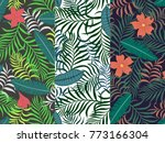 set of three seamless floral...   Shutterstock .eps vector #773166304