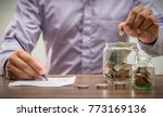 save money for retirement and...   Shutterstock . vector #773169136