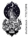 burning church flash tattoo... | Shutterstock .eps vector #773172898