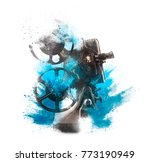old film projector with...   Shutterstock . vector #773190949