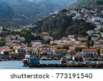 view of hydra town and marina ... | Shutterstock . vector #773191540
