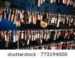 locks on a bridge in ljubljana   Shutterstock . vector #773194000