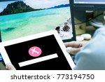 smartphone home screen  flight... | Shutterstock . vector #773194750
