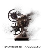 old film projector exploding... | Shutterstock . vector #773206150