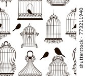 vintage bird cages pattern | Shutterstock .eps vector #773211940